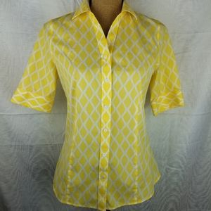 Talbots Yellow Button down diamond Size 4 shirt